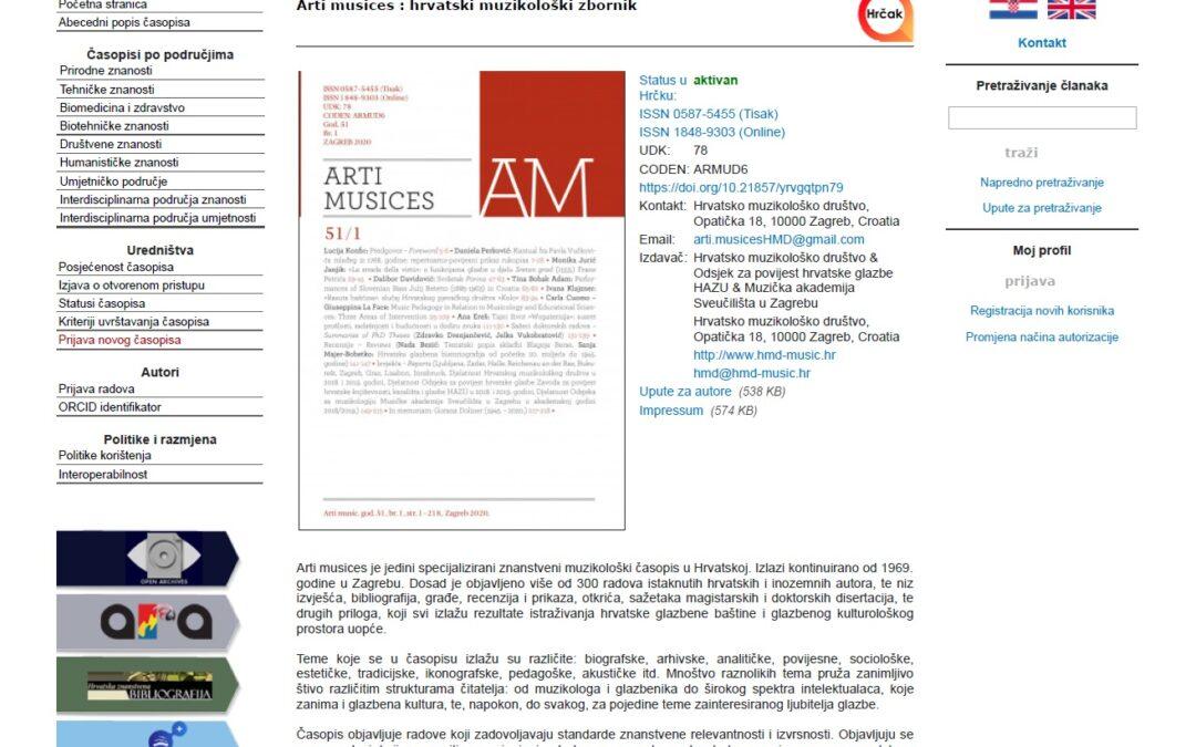 Anin članak u muzikološkom časopisu